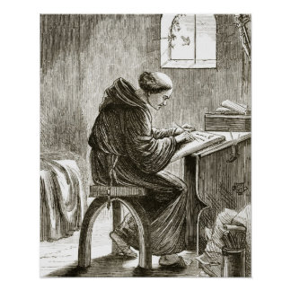St. Vincent writing in his cell at Ferins, from 'T Poster