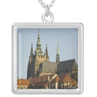 St. Vitus Cathedral and Prague Castle, one of Square Pendant Necklace