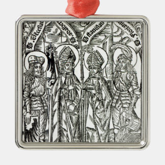 St. Wenceslaus, Adalbert, St. Florian de Adorno Navideño Cuadrado De Metal