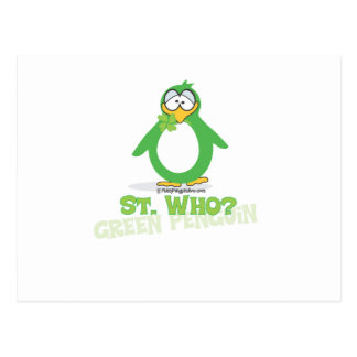 St Who St Patty Penguin Post Card