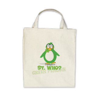 St Who St Patty Penguin Tote Bags
