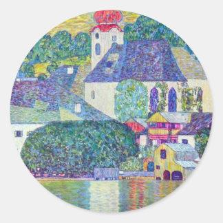 St. Wolfgang Church by Gustav Klimt, Victorian Art Classic Round Sticker