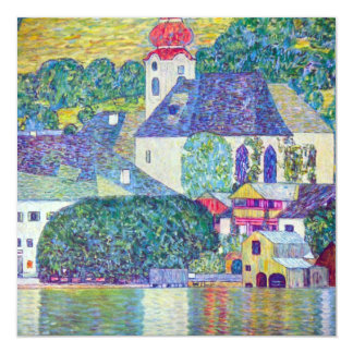 "St. Wolfgang Church by Gustav Klimt, Victorian Art 5.25"" Square Invitation Card"