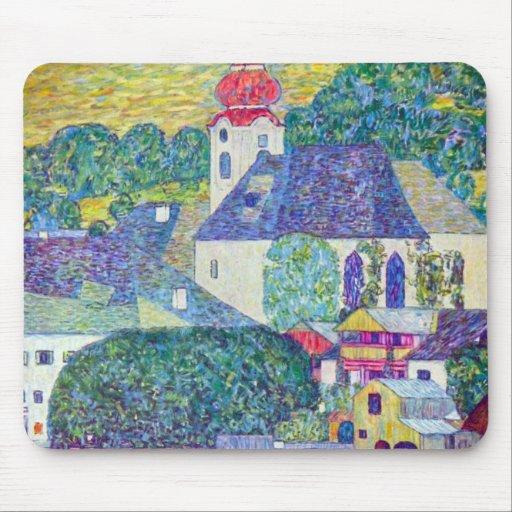 St. Wolfgang Church by Gustav Klimt, Victorian Art Mouse Pads
