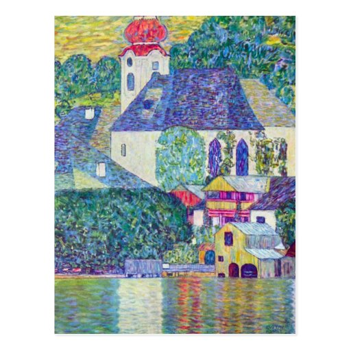 St. Wolfgang Church by Gustav Klimt, Victorian Art Postcard