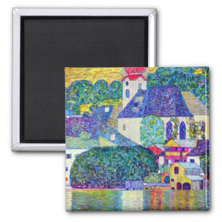 St Wolfgang church in Unterach on Lake Atter Klimt 2 Inch Square Magnet