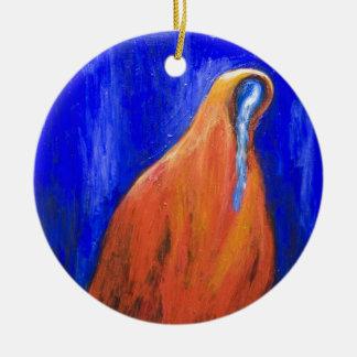 Stabat Mater Dolorosa Red ( Christian surrealism ) Ceramic Ornament