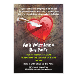 Stabbed Heart Anti-Valentine's Day Party Card