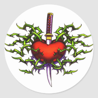 Stabbed in the heart classic round sticker
