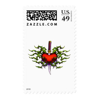 Stabbed in the heart postage stamps