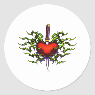 Stabbed in the heart round stickers