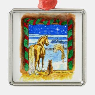 Stable Christmas Metal Ornament