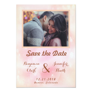 Stable Pink Orange Stardust Save the Date Card
