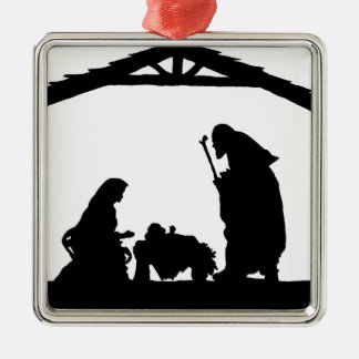 Stable.png Square Metal Christmas Ornament