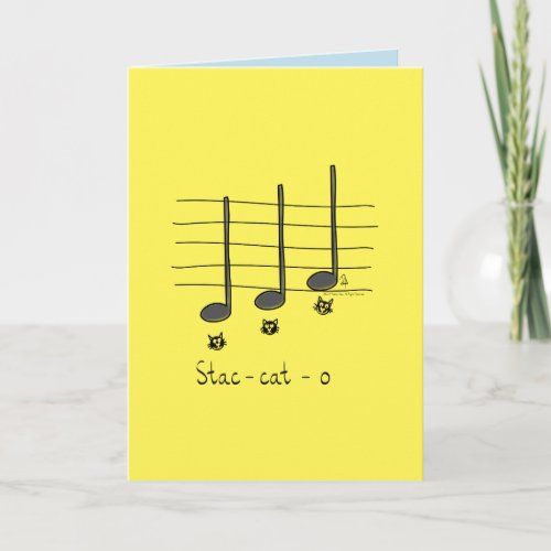 Staccato _ Cat Music Pun Greeting Card