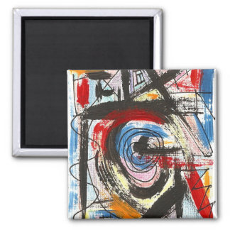Staccato-Hand Painted Abstract Art Brushstrokes 2 Inch Square Magnet