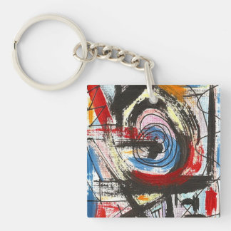 Staccato-Hand Painted Abstract Art Brushstrokes Keychain