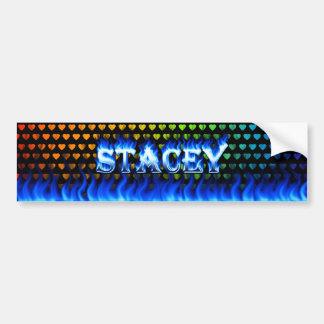 Stacey blue fire and flames bumper sticker design car bumper sticker