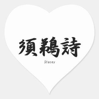 Stacey translated into Japanese kanji symbols. Heart Stickers