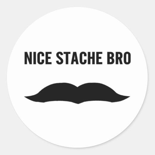 Stache agradable Bro Etiquetas Redondas
