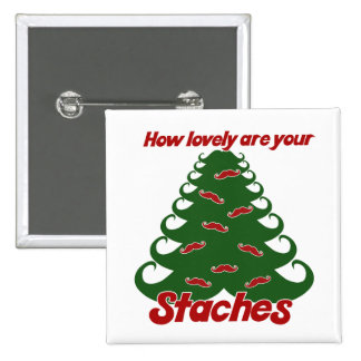 Stache Christmas Tree 2 Inch Square Button