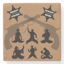 Stache cowboy stone coaster
