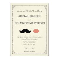stache   kiss —Mustache & Lips Wedding Invitation