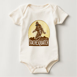 Infant Organic Creeper with Funny Bigfoot with Mustache: Stache Squatch design