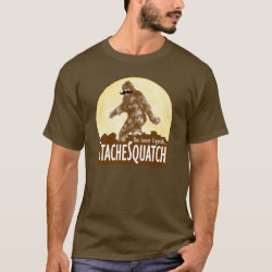 Men's Basic Dark T-Shirt with Funny Bigfoot with Mustache: Stache Squatch design