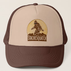 Funny Bigfoot with Mustache: Stache Squatch Trucker Hat
