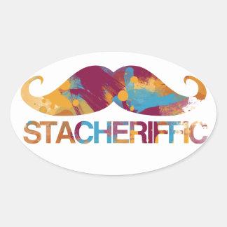Stacheriffic Oval Sticker