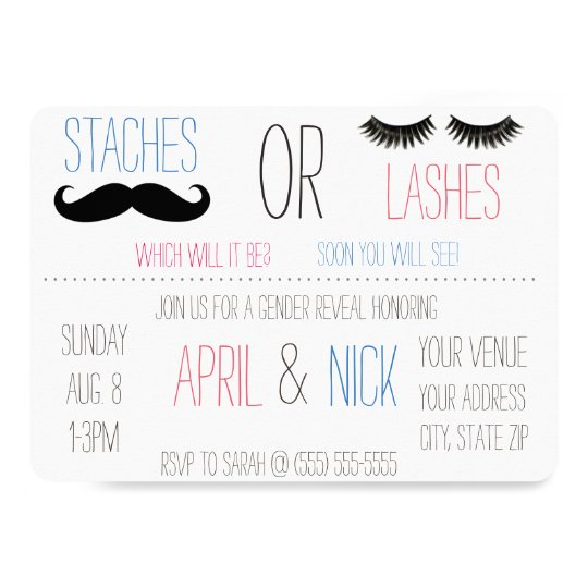 Staches or Lashes Gender Reveal Invitation | Zazzle.com