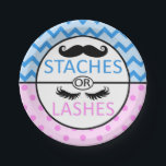 "Staches or Lashes gender reveal party paper plates<br><div class=""desc"">Super cute paper plates to match your Staches or Lashes gender reveal party!</div>"