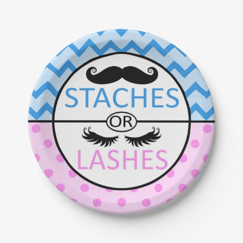 Staches or Lashes gender reveal party paper plates