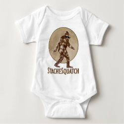 Baby Jersey Bodysuit with Funny Bigfoot with Mustache: Stache Squatch design