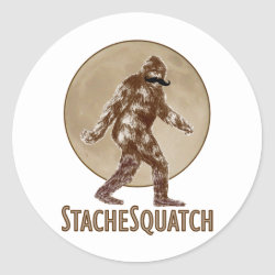 Round Sticker with Funny Bigfoot with Mustache: Stache Squatch design