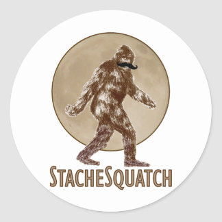 STACHESQUATCH I Mustache if you've Seen My Squatch Classic Round Sticker