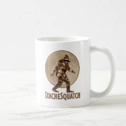 Classic White Mug with Funny Bigfoot with Mustache: Stache Squatch design