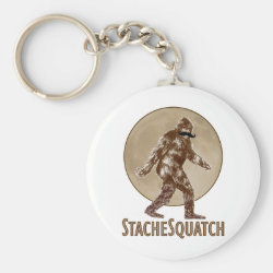 Basic Button Keychain with Funny Bigfoot with Mustache: Stache Squatch design