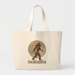 Jumbo Tote Bag with Funny Bigfoot with Mustache: Stache Squatch design