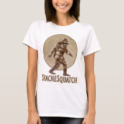 Women's Basic T-Shirt with Funny Bigfoot with Mustache: Stache Squatch design