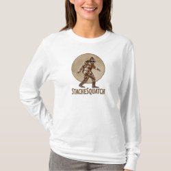 Women's Basic Long Sleeve T-Shirt with Funny Bigfoot with Mustache: Stache Squatch design