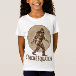 Girls' Fine Jersey T-Shirt with Funny Bigfoot with Mustache: Stache Squatch design