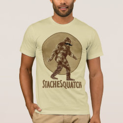 Men's Basic American Apparel T-Shirt with Funny Bigfoot with Mustache: Stache Squatch design
