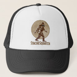 Trucker Hat with Funny Bigfoot with Mustache: Stache Squatch design