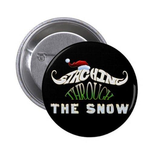 Staching a través de la nieve pin redondo 5 cm