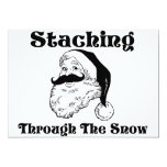 Staching a través de la nieve Santa Invitacion Personalizada