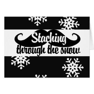 Staching a través de la nieve tarjeta de felicitación