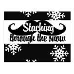 Staching a través de la nieve tarjetas postales