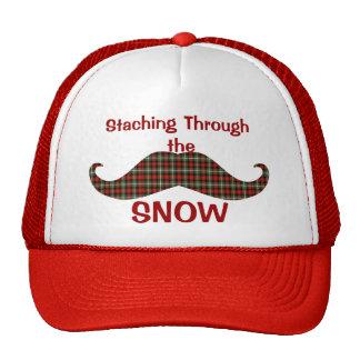 Staching a través del bigote del navidad de la tel gorros